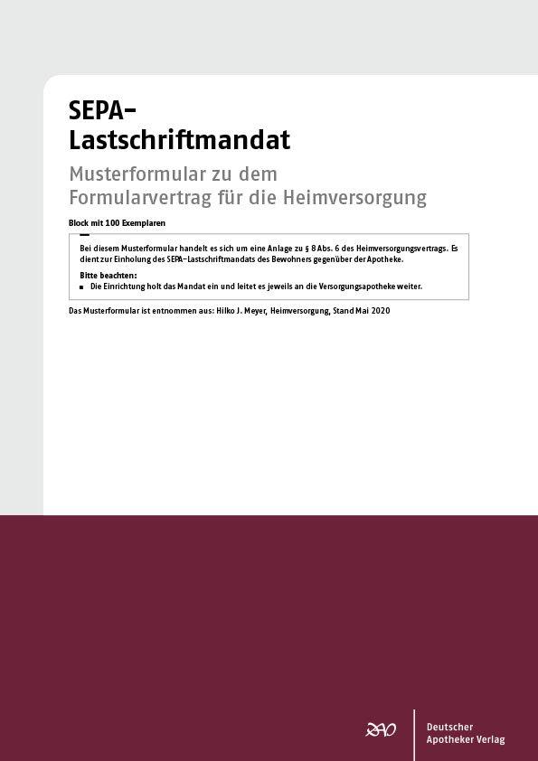 Sepa Lastschriftmandat Shop Deutscher Apotheker Verlag