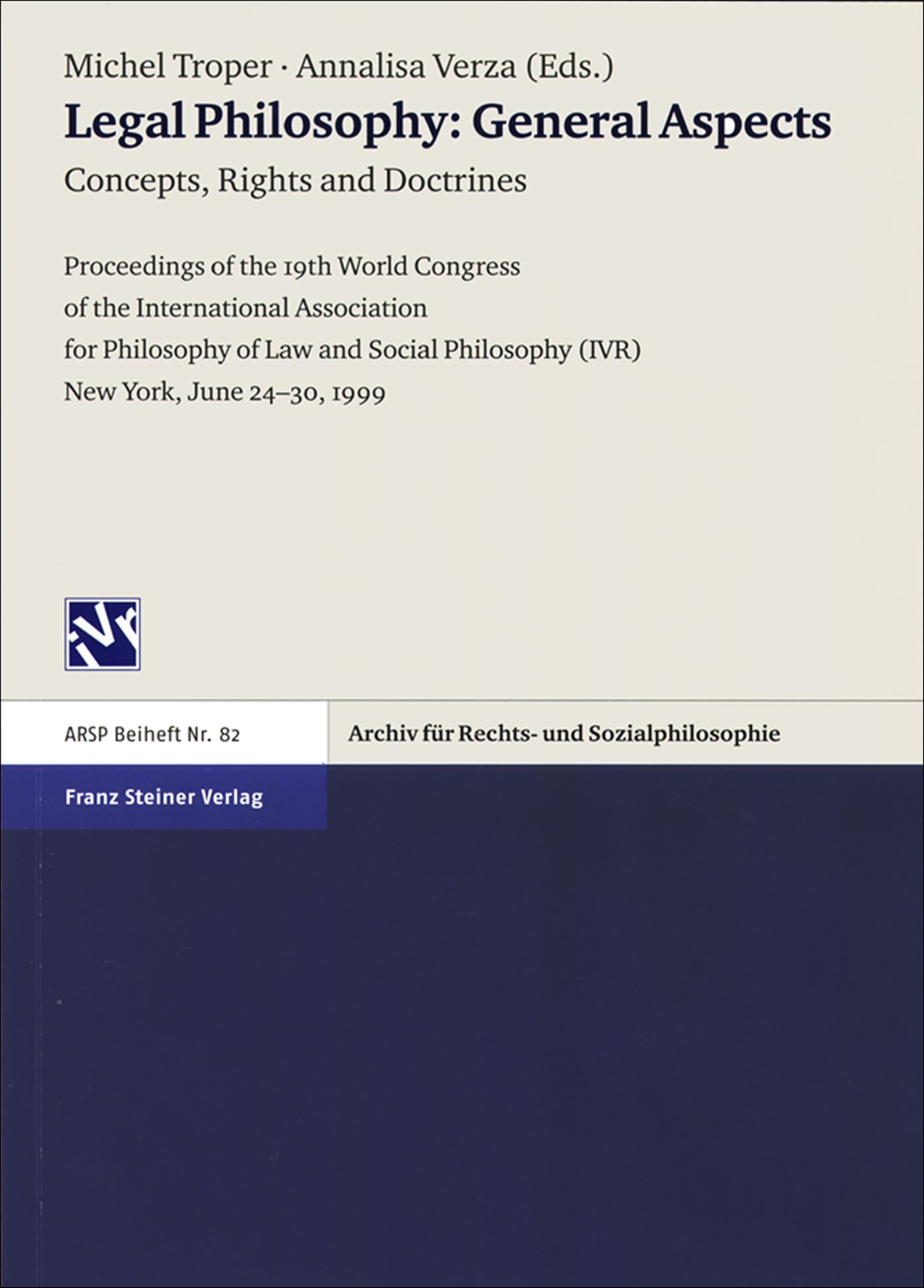 Cover für 'Legal Philosophy – General Aspects. Vol. 1: Concepts, Rights and Doctrines'